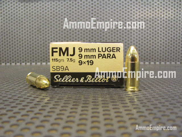 1000 Round Case of 9mm Luger Sellier Bellot 115 Grain FMJ