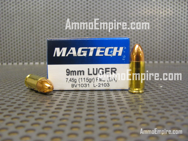 1000 Round Case of 9mm Luger 115 Grain FMJ Ammo - Magtech 9A