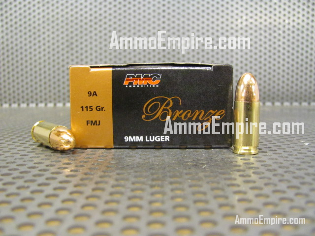 1000 Round Case of 9mm Luger 115 Grain FMJ PMC Ammo 9A With