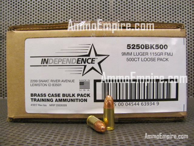 500 Round Case of 9mm Luger 115 Grain FMJ Loose Pack