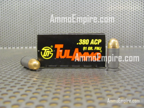 1000 Round Case of 380 ACP 91 Grain FMJ Tulammo Brand Ammo Made in Russia For Sale - TA380910 Free Shipping