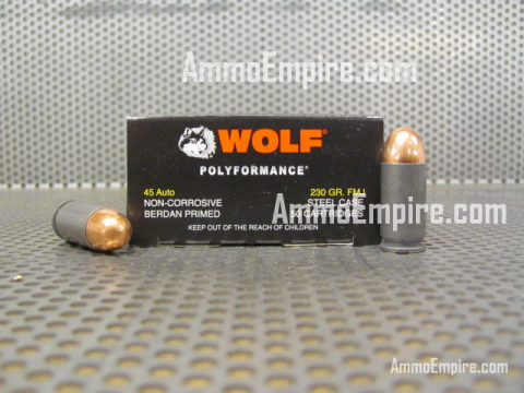500 Round Case of 45 Auto 230 grain FMJ Wolf Steel Case Ammo For Sale by Barnaul With Free Shipping