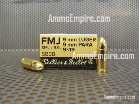 1000 Round Case of 9mm Luger Sellier Bellot 124 Grain FMJ Ammo For Sale SB9B With Free Shipping