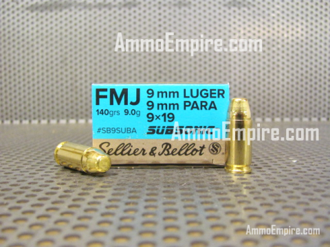 1000 Round Case of 9mm Luger Sellier Bellot Subsonic 140 Grain FMJ Ammo For Sale SB9SUBA With Free Shipping