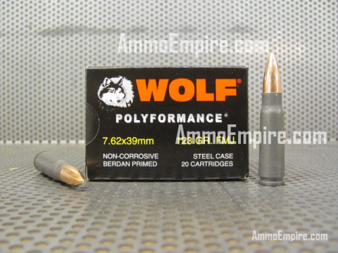 1000 Round Case of 7.62x39 FMJ 123 Grain Wolf Polyformance Ammo For Sale With Free Shipping Made in Russia by Barnaul