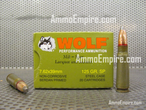 1000 Round Case - 7.62x39 125 Grain Soft Point Wolf Mil-Spec With Lacquer and Sealant Ammo For Sale With Free Shipping