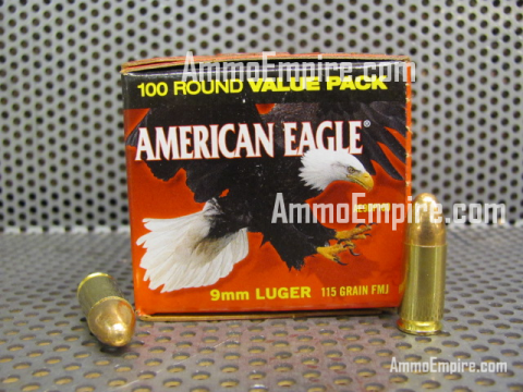 500 Round Case of 9mm Luger Federal American Eagle 115 Grain FMJ Ammo For Sale - AE9DP100 - FREE SHIPPING