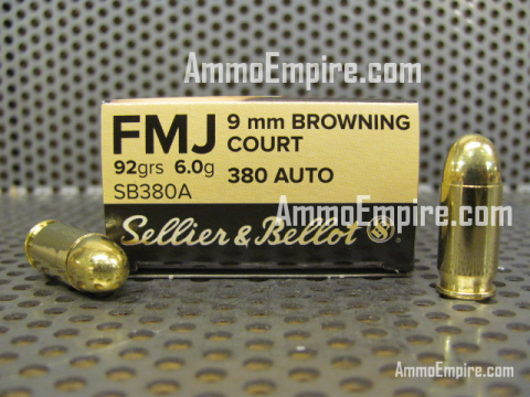 1000 Round Case of 380 Auto 92 Grain FMJ Sellier Bellot Ammo - SB380A - FREE SHIPPING