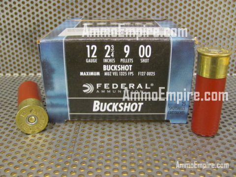 250 Round Case of 12 Gauge 2.75 Inch Federal Power-Shok Buckshot High Velocity OO Buck Shot Ammo - F1270025 - FREE SHIPPING