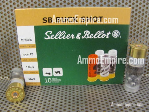 250 Round Case of 12 Gauge 2.75 inch Sellier Bellot 12 Pellet Number 1 Buck Shot Ammo - SB12BSI - FREE SHIPPING