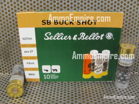 250 Round Case of 12 Gauge 2.75 Inch 27 Pellet Number 4 Buck Shot Ammo by Sellier Bellot - SB12BSD - FREE SHIPPING