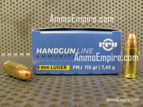 1000 Round Case of 9mm Luger FMJ 115 grain Brass Case Prvi Partizan Ammo - PPH9F1 - FREE SHIPPING