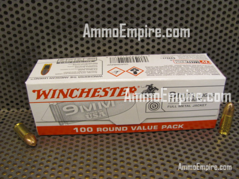 1000 Round Case of 9mm Luger 115 Grain FMJ Winchester Ammo - Free Shipping