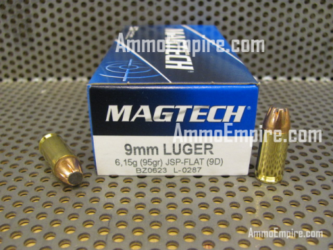 1000 Round Case of 9mm Luger 95 Grain JSP-Flat Magtech Ammo - Free Shipping