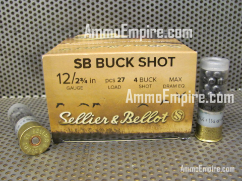 250 Round Case of 12 Gauge 2-3/4 Inch 1-1/4 Oz Number 4 Buck Shot Sellier Bellot Ammo - SB12BSB - FREE SHIPPING