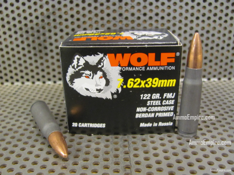 1000 Round Case of 7.62x39 122 Grain FMJ Steel Case TCW Wolf Ammo - Free Shipping