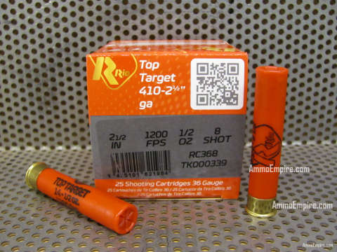 250 Round Case of 410 Gauge Target Load Number 8 Shot 2.5 Inch Max Dram 1200 FPS 1/2 Oz Rio Ammo - RC368 - Free Shipping